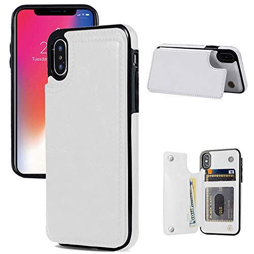 (iphone X/XS Wallet Case, iphone X/XS Case with Card Holder, JOYAKI iphone X/XS Slim Leather Case with Credit Card Holder Protective Case with a Free Screen Protector For iPhone X/XS 5.8 inch-White)