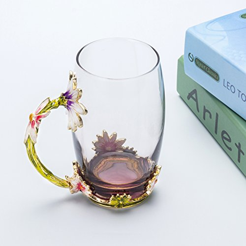 TIANG Large Glass Mug, Chrysanthemum Flower Tea Cups, 13 oz Crystal Glass Cups with Handle, Gifts Personalized for Hot Beverages, Tea, Juice, Women, Grandma, Mom, Teachers