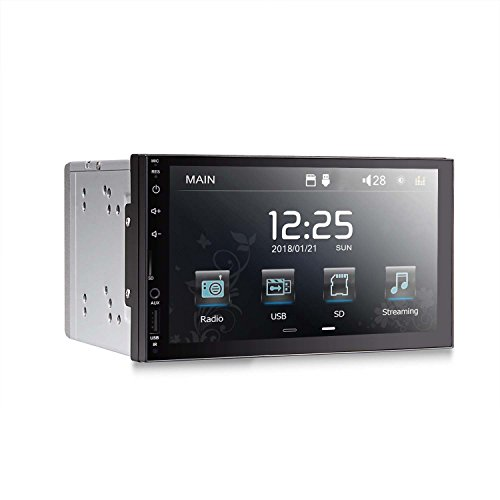 Car Stereo Double Din Head Unit 7 Inch for Universal Car Capacitive Touch-Screen in-Dash Hands Free Bluetooth Mp3 Mp4 1080P Media Receiver USB SD Radio with SWC Remote Control Black Frame (No Camera)