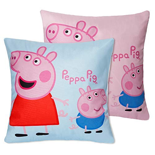 Jerry Fabrics Set of 2 100% Cotton Velvet Soft Blue Pink Cartoon Peppa Pig Decorative Throw Pillow Cover Home Decor Design Set Cushion Case for Sofa Bedroom Car Hiddern Zipper 18×18 Inch(45×45 cm)