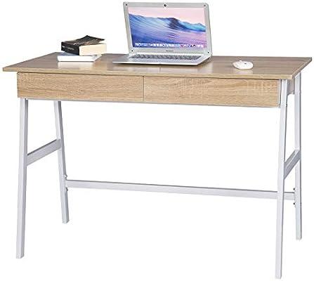 WOLTU Mesa de Oficina Escritorio con 2 Cajones Madera 110x55x75cm ...