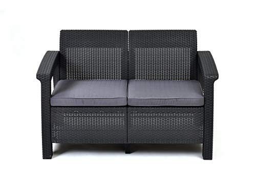 Keter Corfu Love Seat All Weather Outdoor Patio Garden Furniture w/ Cushions, Charcoal (Renewed)