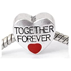 """Together Forever Love "" Heart Charm Bead For Snake Chain Charm Bracelet Valentine's Day Gifts Idea"