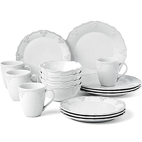 (Lenox French Carved Scalloped 16-Piece Dinnerware Set in White)