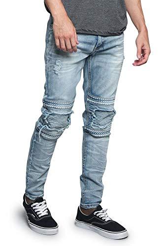 Victorious Studded Biker Denim Jeans DL1173 - Indigo - 30/30 - ()