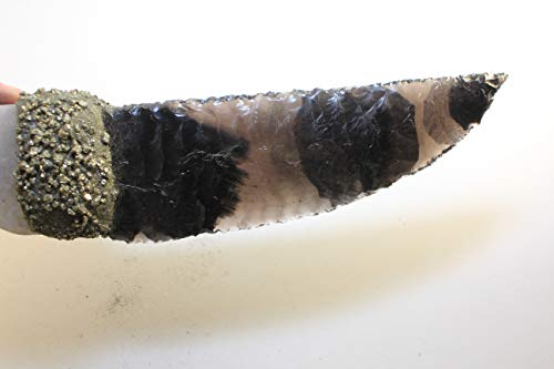 "10-1/2"" Long Banded Obsidian Knife Blade Inspired by Game of Thrones Dragon Glass Gem Point Flint Knapped/Knapping Hafted With Crushed Pyrite On Real Hand Polished Agate Handle"