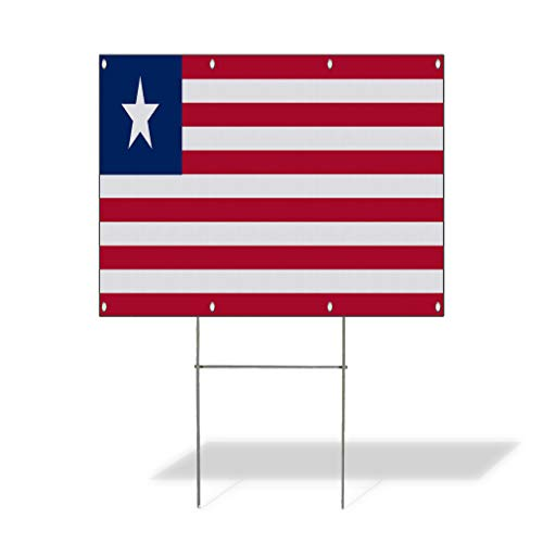 Plastic Weatherproof Yard Sign Liberia Flag Liberia Flag Red Blue for Sale Sign One Side 18inx12in ()