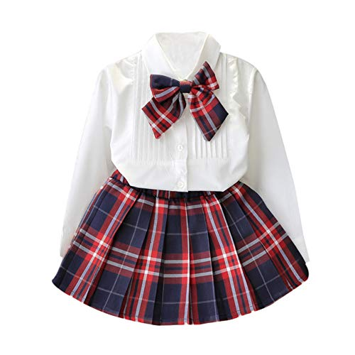 Kehen Back to School Dress for Girl Fashion Kid Toddler Girl 2pc Button Down Shirt Tops with Tie Bow + Plaid Skirt Red 3T