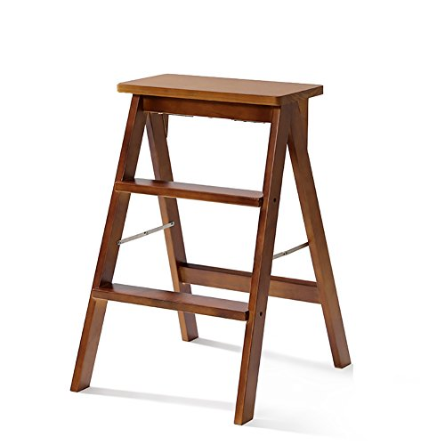 Yxsd Kitchen Wooden Step Stool Ladder for Adults Solid Wood Folding Stepladder Portable Fold Up Footstool Multifunction Small Stool Bench (Color : Brown, Size : A)