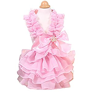 MaruPet Fashion Sweet Puppy Dog Love Printed Princess Skirt Pet Dog Pleated Camisole Tutu Dress Pink L