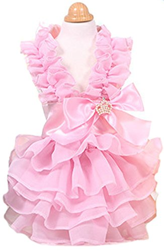 MaruPet Fashion Sweet Puppy Dog Love Printed Princess Skirt Pet Dog Pleated Camisole Tutu Dress Pink L]()