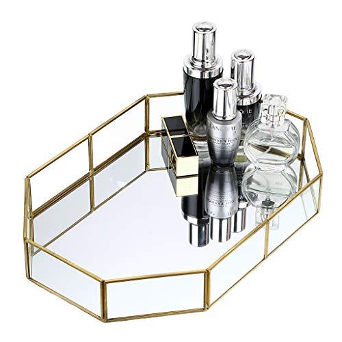 Hipiwe Gold Mirrored Makeup Tray Gold Metal Decorative Jewelry Tray Vanity Cosmetic Perfume Organizer for Dresser, Bathroom, Bedroom,Home Decor (Big) (On Decorating Mirror Mirror Bathroom For)