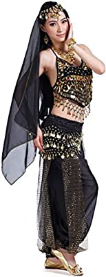 Belly Dance Halloween Carnival India Dance Costume Outfit Accessories Set for Women 12-Cute Color