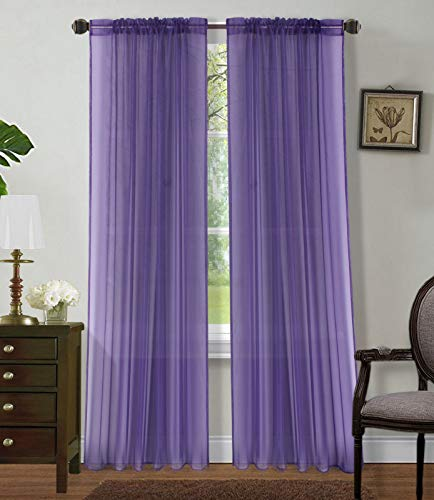 (Sapphire Home 2 Panels Window Sheer Curtains 54
