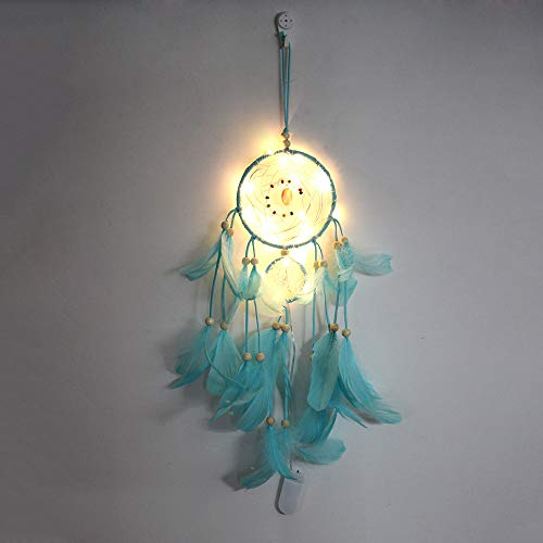 4inloveme Pure Handmade Dream Catcher with Light Beautiful Native American Dream Catchers Authentic Pretty Dreamcatchers for Home Wall Hanging Decoration Wedding Decoration Craft (Blue+Light)