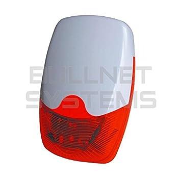Bullnet Systems - Grosse sirena exterior inalámbrico flash rojo para alarma de casa 433 mhz: Amazon.es: Hogar