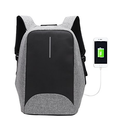 Tom Clovers Casual Business Anti-theft 15.6 inch Laptop Backpack with USB Charging Port Quick Passing Security Check Daypack for College Schoolbag Travel