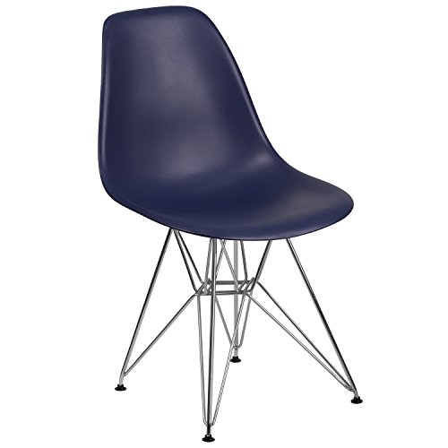 Flash Furniture Elon Series Navy Plastic Chair with Chrome Base