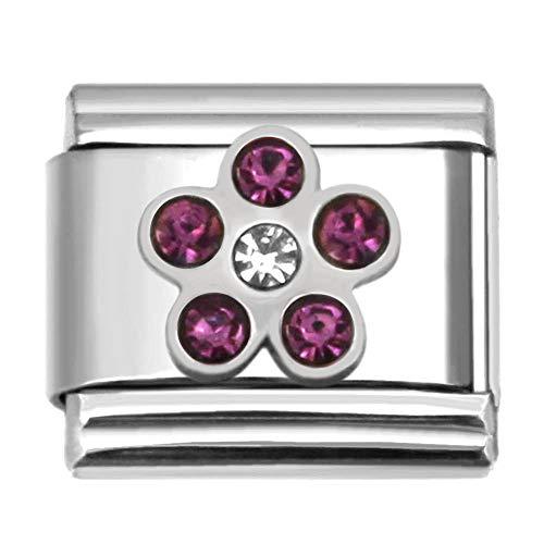 SilverAndJewelry Purple Stone Flower Italian Charm Stainless Steel Lilnk