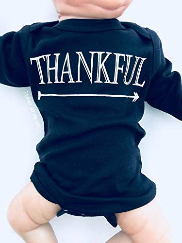 Thankful Baby Outfit, Thankful Shirt, Thanksgiving Baby Outfit, Long Sleeve, Black, 3-6 Months