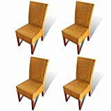 """Dining Chairs Set of 4 Indoor&Outdoor Comfortable Rattan Chair for Kitchen, Dining, Bedroom, Living Room 18.5"""" x 19.7"""" x 38.2"""" (W x D x H) by BLUECC"""