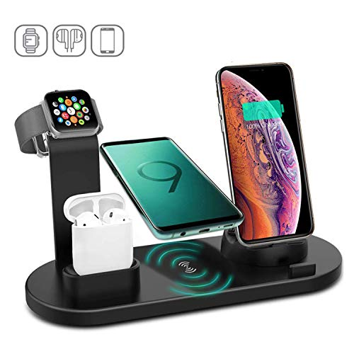 4 Station - Kertxin Wireless Charger Stand,4 in 1 Wireless Charging Station Dock with USB for Apple Watch iWatch 5 4 3 2 1, Airpods,iPhone 11 11 Pro X Xs XR Max 8 Plus 8,Samsung Galaxy S9 S8