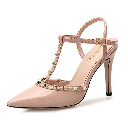 Xue Qiqi Ranurado sandalias de hebilla hembra con punta fina remache silvestres Baotou pequeños zapatos altos color fresca cruda El bare-color de 8cm.