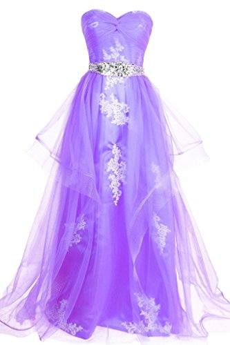 Dresstore Sweetheart Tulle Long Prom Evening Dress with Applique Beaded Waist Lavender US 20Plus