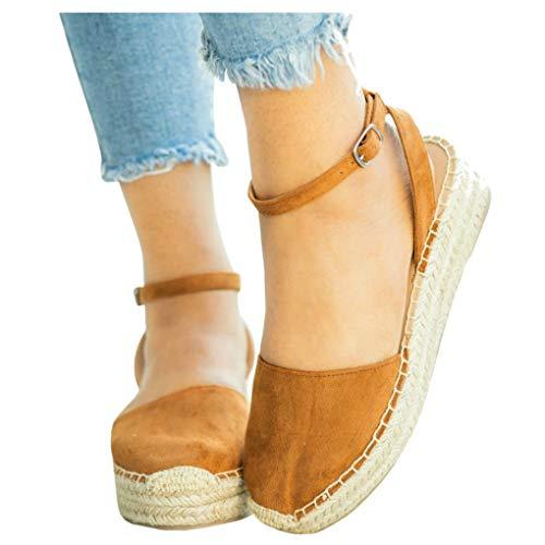 (LAICIGO Women's Platform Espadrilles Wedge Cap Toe Strappy Slingback Faux Suede Dress Sandals with)