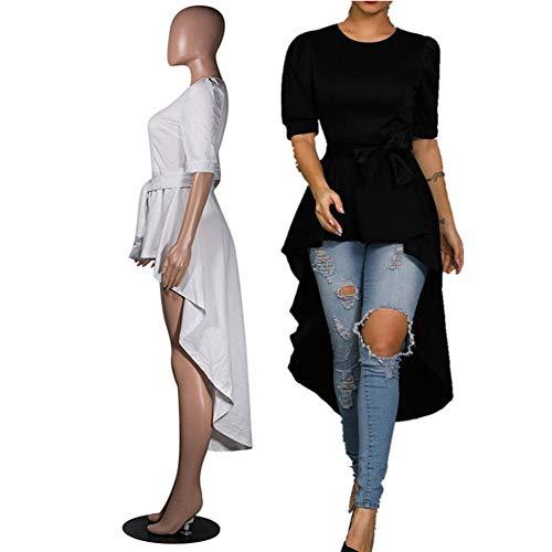 Annystore High Low Tops for Women - Ruffle Short Sleeve Bodycon Peplum Shirt Dresses - Ruffle Blouse Neck High