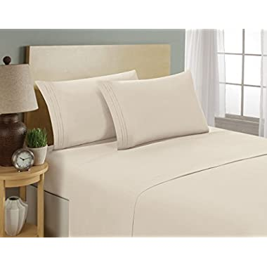 Luxurious Sheets Set 1800 3-Line Collection Brushed Microfiber Deep Pocket - High Quality Super Soft and Comfortable Hotel Collection Sheets by Bellerose(Queen,Cream)