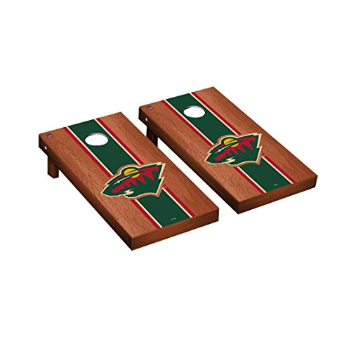 Victory Tailgate Minnesota Wild NHL Regulation Cornhole Game Set Rosewood Stained Stripe Version