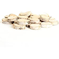 "Koyal Wholesale Birch Wedding Disc Rounds, Birch Slices, Real Wood Decorations, Centerpieces, Log Decor (1-2"", 24-Pack)"