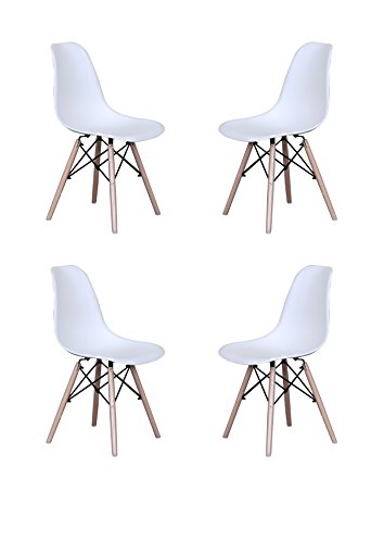18 Inch Dining Chair (Modern Set of 4 Eames Style Chair Natural Wood Legs (White))