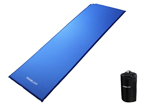 Trekology Self Inflating Camping Sleeping Mat in Air Pump Dry Sack Bag - Compact Lightweight Camp Sleep Pad, Inflatable Roll Up Foam Bed as Tent Pads, Hammock Mats (Blue (Old Design))