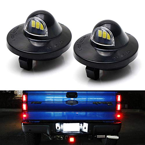 iJDMTOY OEM-Fit 3W Full LED License Plate Light Assembly Kit For Ford F150 Ranger Raptor Explorer Sport Trac, Powered by 3pcs Xenon White LED - Ford F150 1991 Accessories