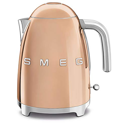 Smeg KLF03RGUK, 50's Retro Style Kettle, 1.7 L Capacity with Water Level Indicator, 360 Swivel Base, Anti-Slip Feet, Soft Opening Lid, Stainless Steel, Rose Gold,1 Year Warranty