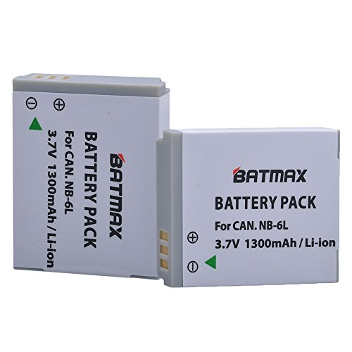 Batmax 2 Pack NB-6L NB-6LH Replacement Batteries Canon Powershot SX500 is, SX710 HS,SX520 HS,SX530 HS,SX510 HS,S120,SX700 HS,SX610 HS,SX600 HS, D30 S95 Cameras