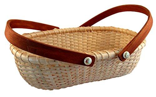 Nantucket Summer Woven Oblong Bread Style Basket with Handle (Medium)
