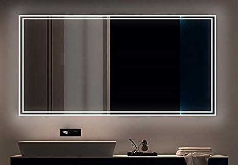 Specchio da bagno con luce led da parete vetro breite