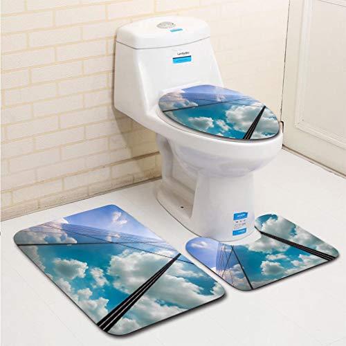 MTSJTliangwan 3-Piece Bathroom Set, Bathroom Rug + Contour pad + lid Toilet -