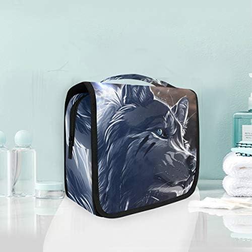 ウルフアートハンギング折りたたみトイレタリー化粧品袋メイク旅行オーガナイザーバッグケース用女性女の子浴室