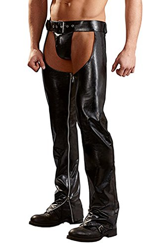 Killreal Men's Faux Leather Assless Chaps Sexy Open Hip Long Pants With Zipper Black Large (Sexy Chaps)