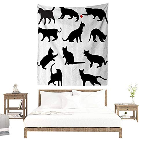 (alisoso Wall Tapestries Hippie,Cat,Silhouette of Kittens in Various Postures Playing Red Ball Animal Pet Paw Print,Vermilion Black W51 x L60 inch Tapestry Wallpaper Home Decor)
