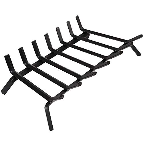 "Black Wrought Iron Fireplace Log Grate 30 inch Wide Heavy Duty Solid Steel Indoor Chimney Hearth 3/4"" Bar Fire Grates for Outdoor Fire Place Kindling Tools Pit Wood Stove Firewood Burning Rack Holder"