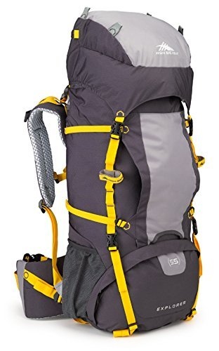 High Sierra Explorer 55L Internal Frame Backpack, Top Load 55 Liter Hiking Backpack, Mercury/Ash/Yell-O