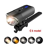 Srocker Bike Light, Bicycle LED Headlight USB Rechargeable Bicycle Light with 5 Switch Mode Road Bike Headlight Road Cycling Safety Flashlight Free Bright Tail Light - Compatible with Mountain, Road,