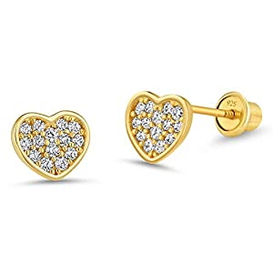 - 41lBdVFK6tL - 14k Gold Plated Brass Heart Cubic Zirconia Screwback Baby Girls Earrings with Sterling Silver Post