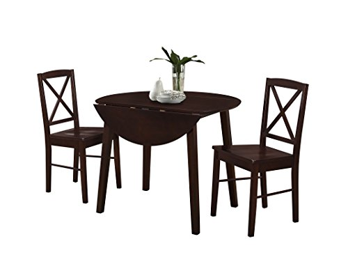 Pilaster Designs - 3-Piece Dining Set, Cappuccino Finish Wood Dinette Drop Leaf Table & 2 Chairs