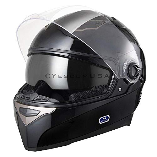 Black Motorcycle Helmet Full Face Dual Visors Flip Up ABS Air Vent Motor Cross Motorbike Touring Sports DOT Approved (Size M)